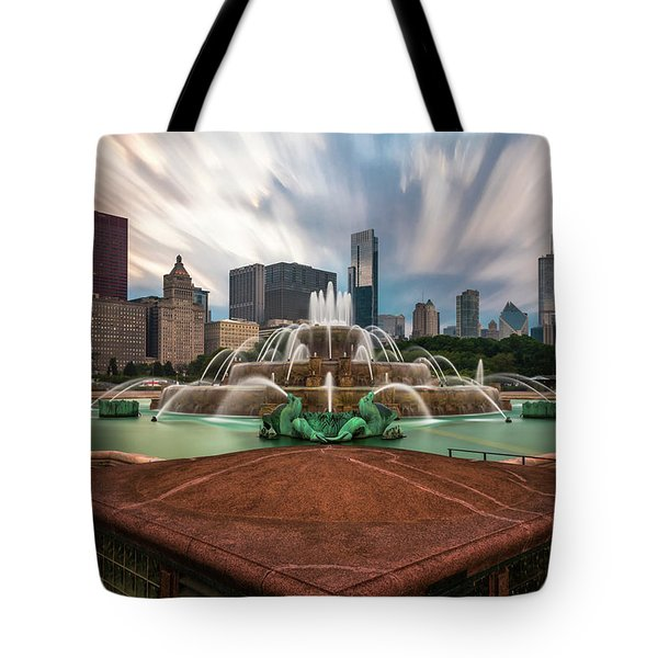 Chicago's Buckingham Fountain Tote Bag by Sean Foster
