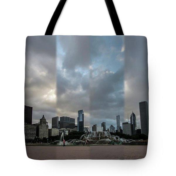 Chicago's Buckingham Fountain Time Slice Photo Tote Bag