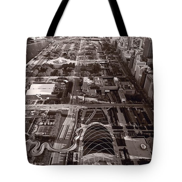 Chicagos Front Yard B W Tote Bag by Steve Gadomski