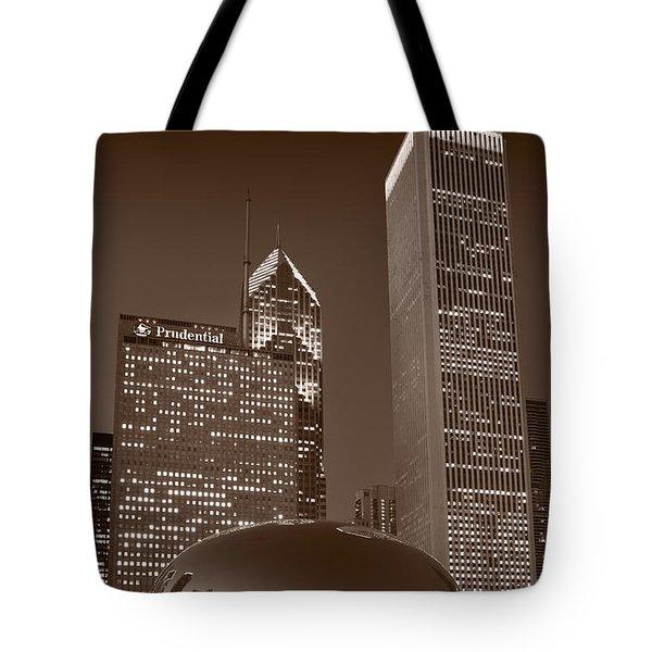 Chicagos Millennium Park Bw Tote Bag by Steve Gadomski