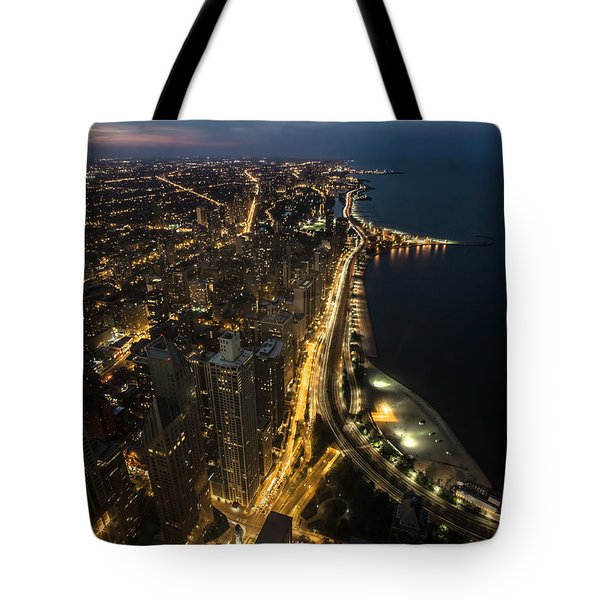 Chicago's North Side From Above At Night  Tote Bag