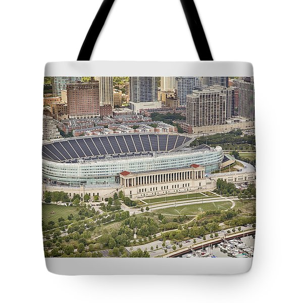 Chicago's Soldier Field Aerial Tote Bag by Adam Romanowicz