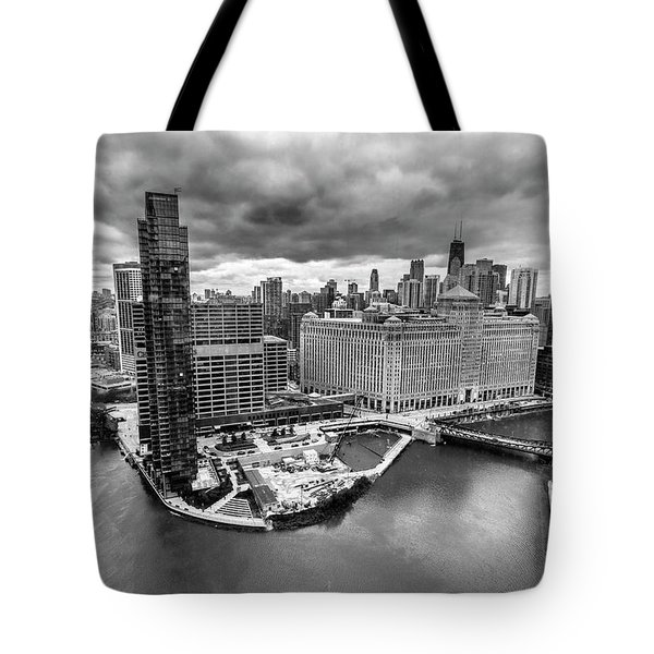 Chicago's Wolf Point From The 27th Floor Tote Bag