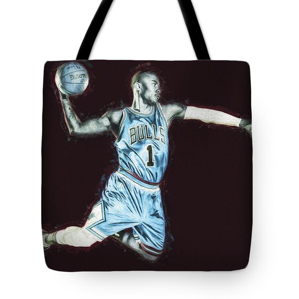 Chicao Bulls Derrick Rose Painted Digitally Blue Tote Bag