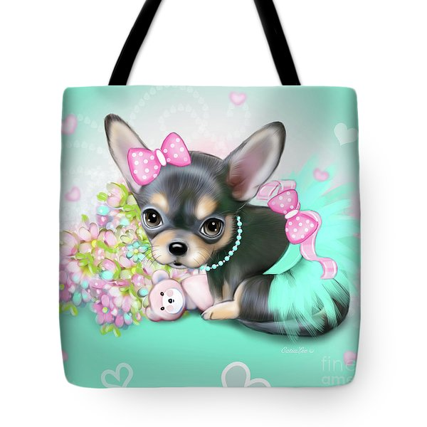 Tote Bag featuring the painting Chichi Sweetie by Catia Lee