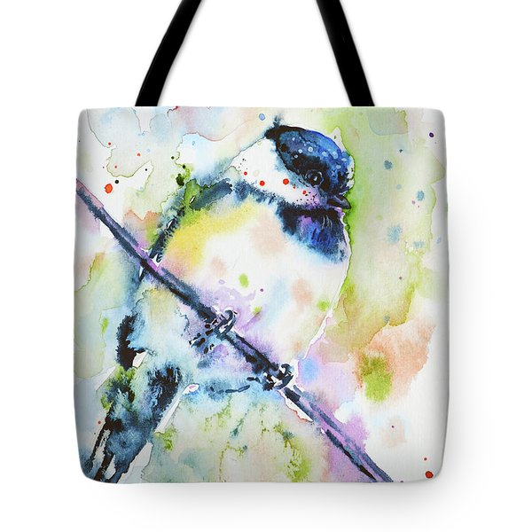 Tote Bag featuring the painting Chick-a-dee-dee-dee by Zaira Dzhaubaeva