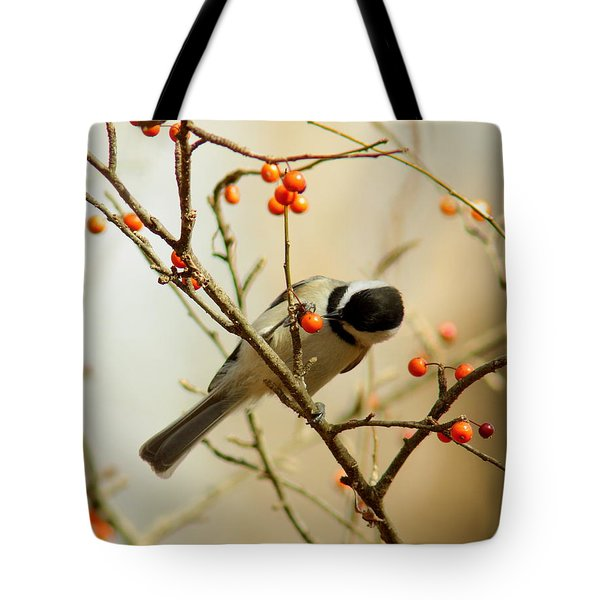 Chickadee 1 Of 2 Tote Bag by Robert Frederick