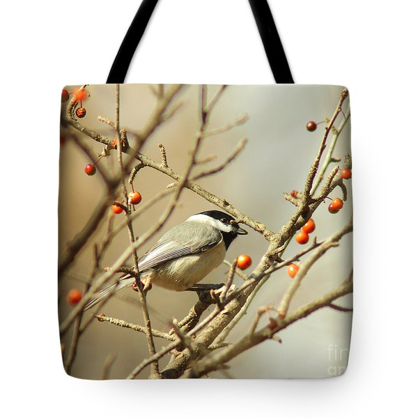 Chickadee 2 Of 2 Tote Bag by Robert Frederick