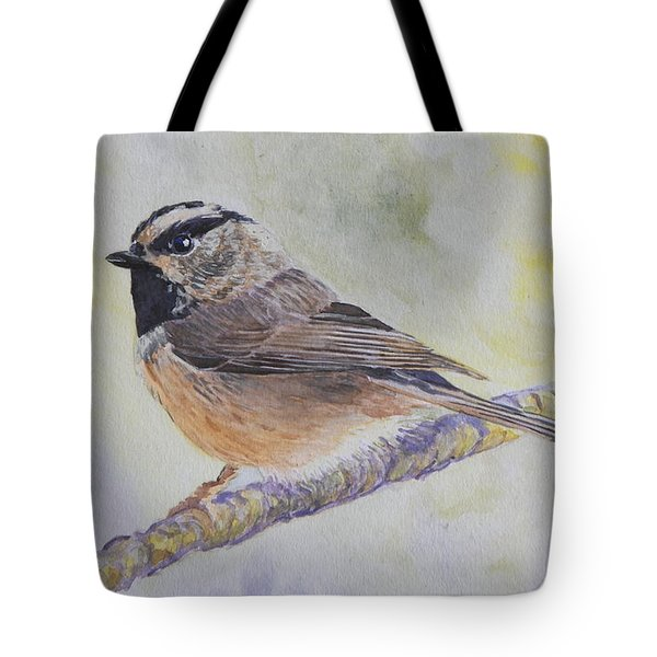 Tote Bag featuring the painting Chickadee 2 by Robert Decker