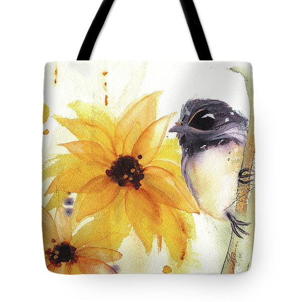 Chickadee And Sunflowers Tote Bag