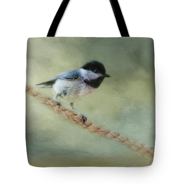 Chickadee At The Shore Tote Bag by Jai Johnson