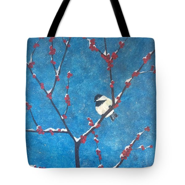 Tote Bag featuring the painting Chickadee Bird by Denise Tomasura