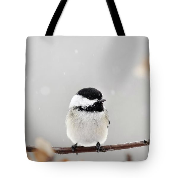 Tote Bag featuring the photograph Chickadee Bird In Snow by Christina Rollo