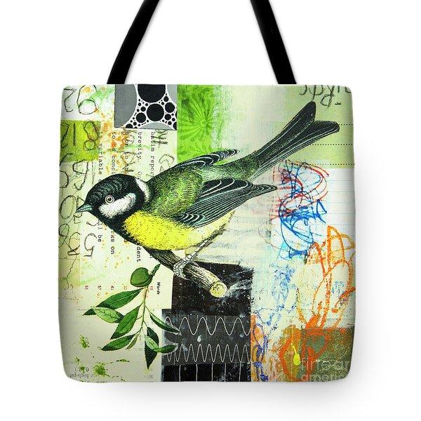 Tote Bag featuring the mixed media Chickadee by Elena Nosyreva