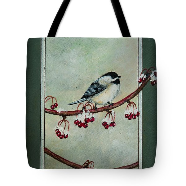 Tote Bag featuring the painting Chickadee by Elizabeth Mundaden