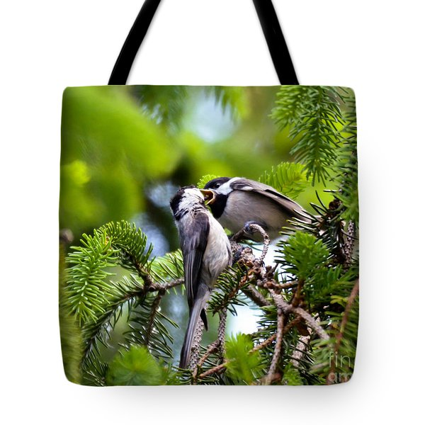 Chickadee Feeding Time Tote Bag