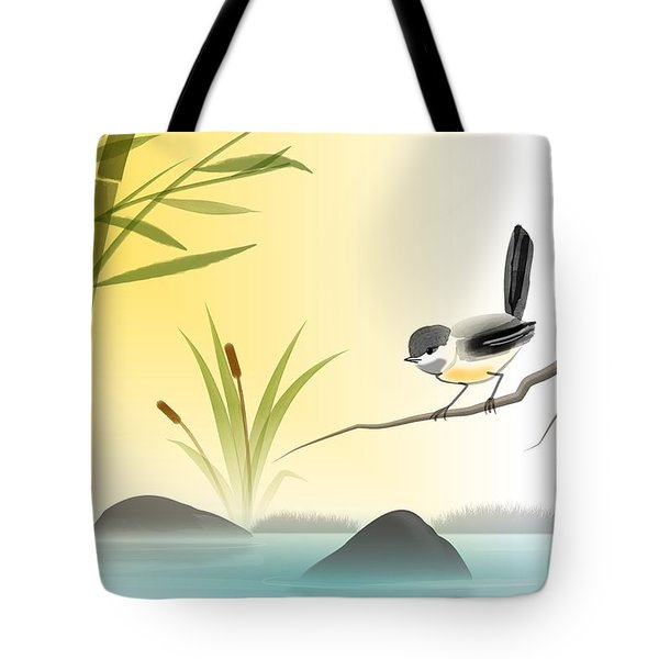 Tote Bag featuring the digital art Chickadee In Spring by John Wills