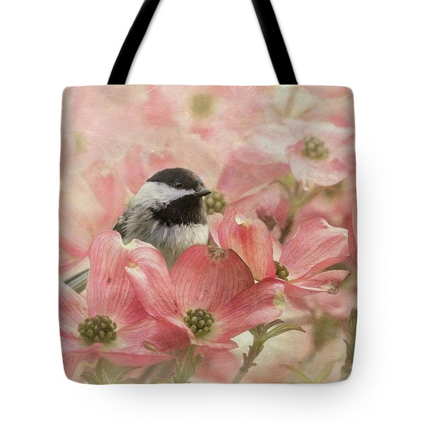 Tote Bag featuring the photograph Chickadee In The Dogwood by Angie Vogel