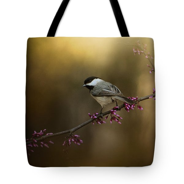 Chickadee In The Golden Light Tote Bag
