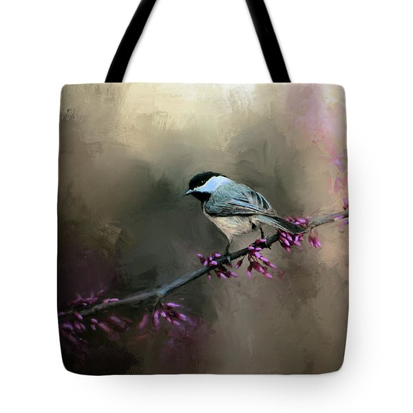 Chickadee In The Light Tote Bag by Jai Johnson