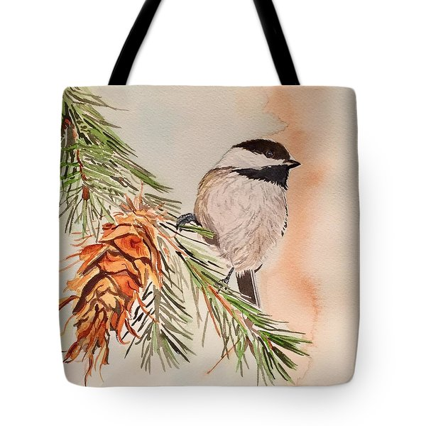 Chickadee In The Pine Tote Bag