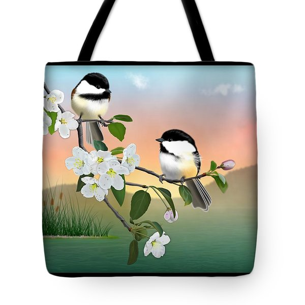 Tote Bag featuring the digital art Chickadee Lake by John Wills