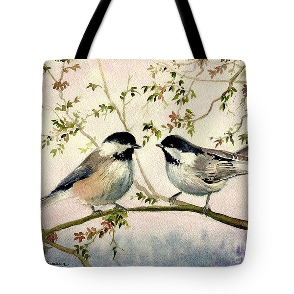 Chickadee Love Tote Bag by Melly Terpening