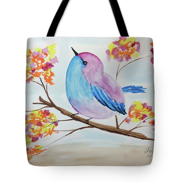 Chickadee On A Branch With Head Up Tote Bag