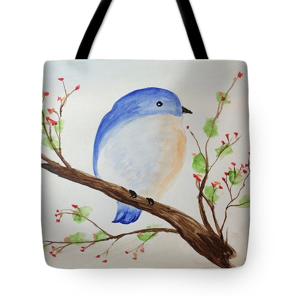 Chickadee On A Branch With Leaves Tote Bag