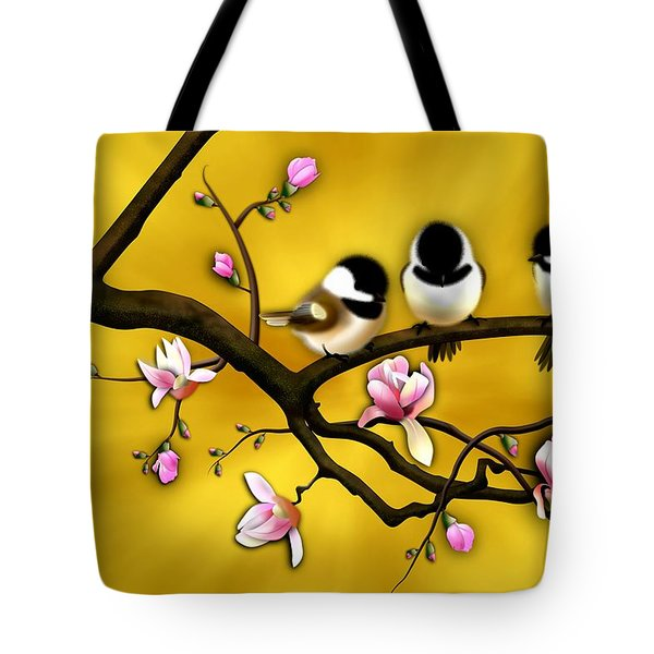 Chickadee On Blooming Magnolia Branch Tote Bag