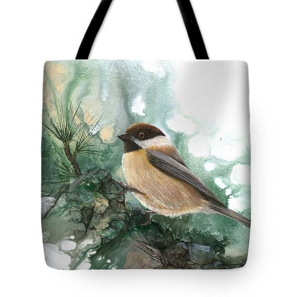 Tote Bag featuring the painting Chickadee by Sherry Shipley