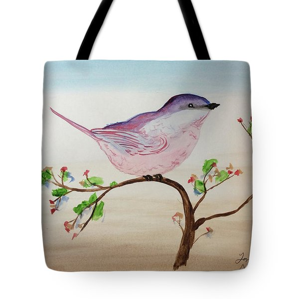 Chickadee Standing On A Branch Looking Tote Bag