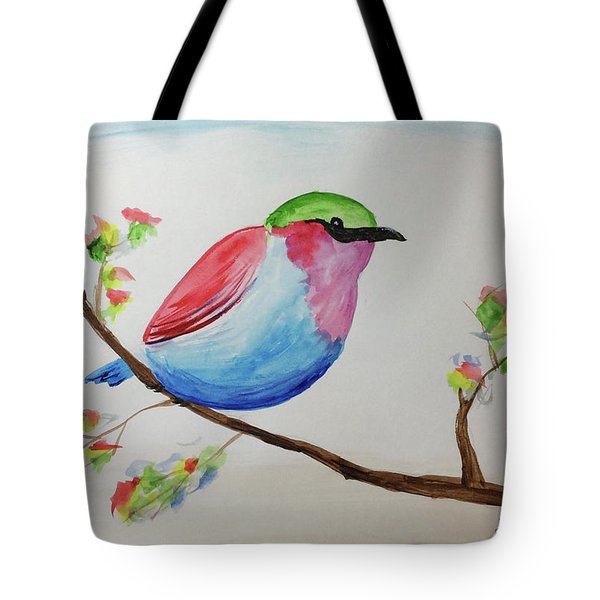 Chickadee With Green Head On A Branch Tote Bag