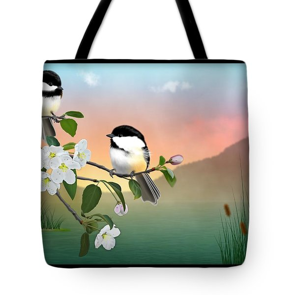 Chickadees And Apple Blossoms Tote Bag