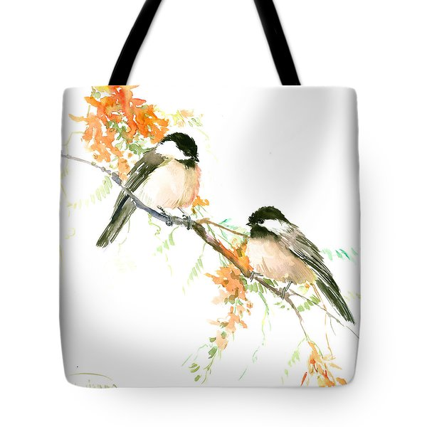 Chickadees And Orange Flowers Tote Bag