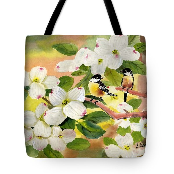 Chickadees In The Dogwood Tree Tote Bag by Eileen  Fong