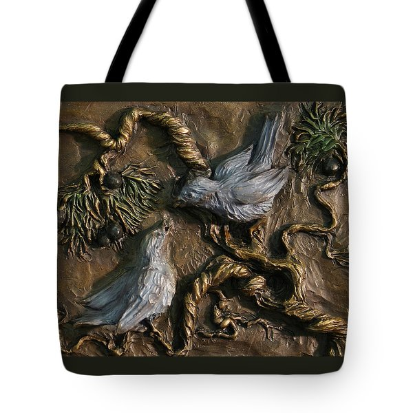 Tote Bag featuring the relief Chickadees On Juniper With Berries  by Dawn Senior-Trask