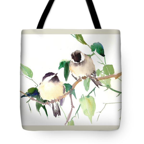 Chickadees Tote Bag by Suren Nersisyan