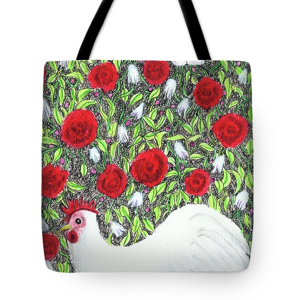 Chicken And Butterflies In The Flowers Tote Bag