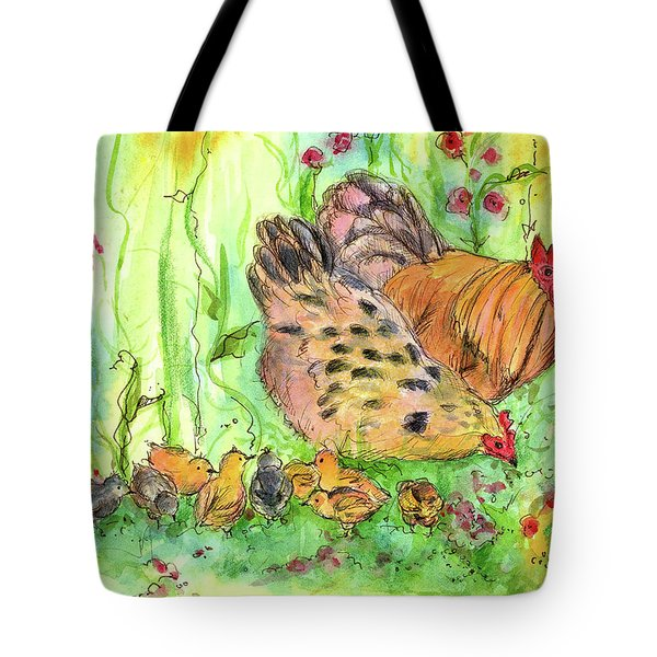 Tote Bag featuring the painting Chicken Family by Cathie Richardson