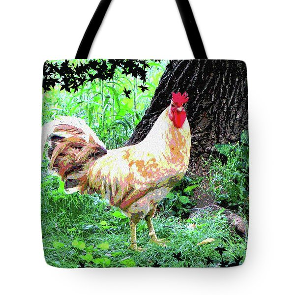 Tote Bag featuring the mixed media Chicken Inthe Woods by Charles Shoup