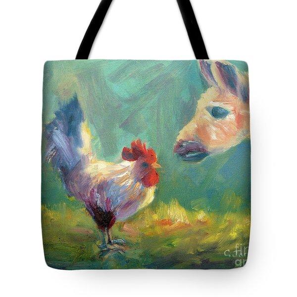 Chicken Meets Llama Tote Bag