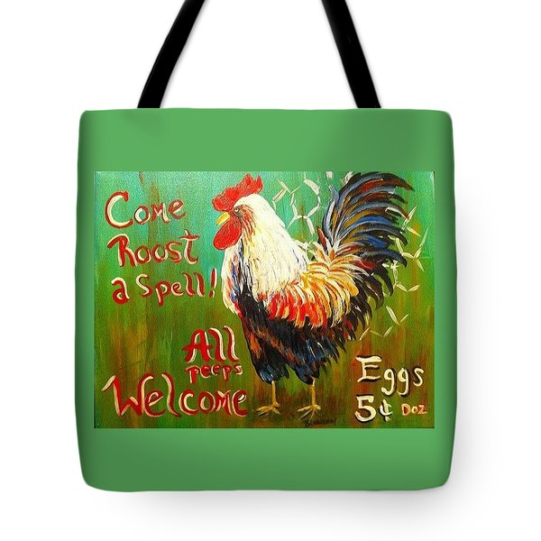 Chicken Welcome 3 Tote Bag by Belinda Lawson