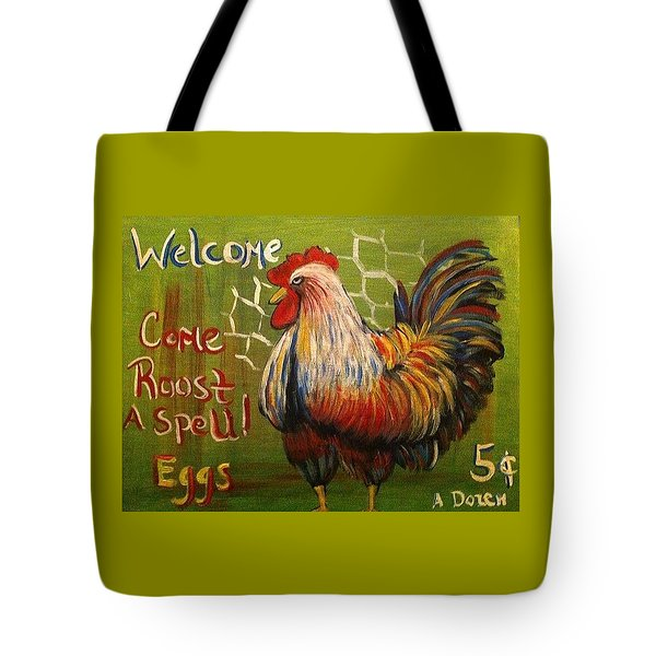 Chicken Welcome Sign 4 Tote Bag by Belinda Lawson