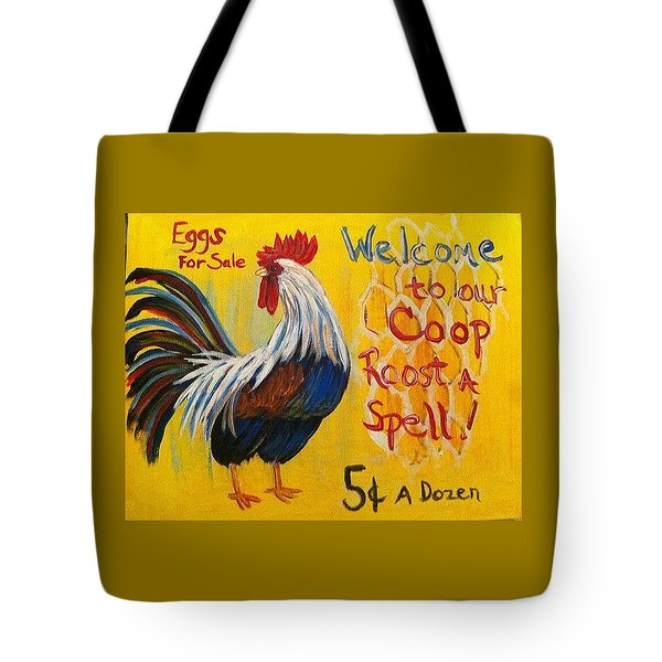 Chicken Welcome Sign 7 Tote Bag by Belinda Lawson