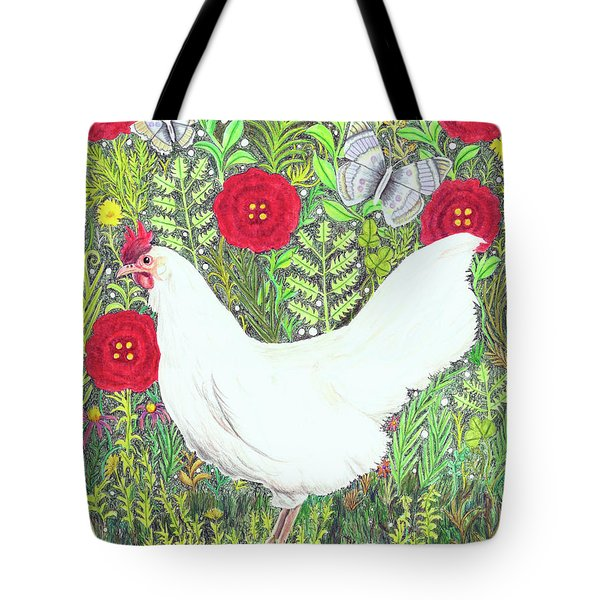 Chicken With Millefleurs And Butterflies  Tote Bag