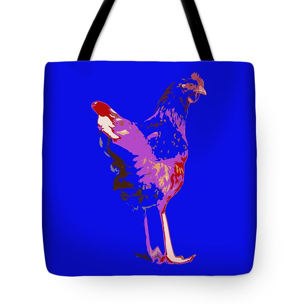 Chicken With Tall Legs Tote Bag by James Bethanis