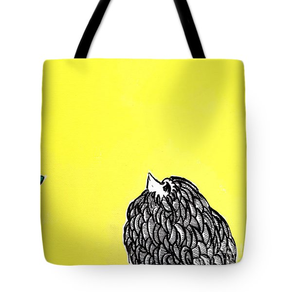 Tote Bag featuring the painting Chickens Four by Jason Tricktop Matthews