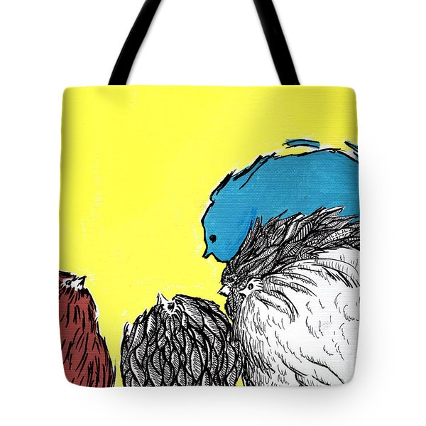 Tote Bag featuring the painting Chickens One by Jason Tricktop Matthews