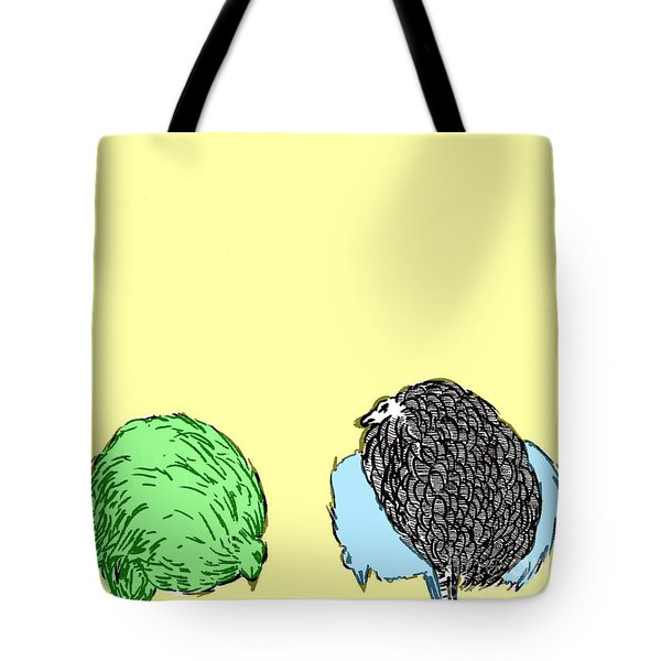 Tote Bag featuring the painting Chickens Three by Jason Tricktop Matthews